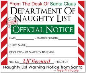 Naughty List Warning Notice from Santa — Free Printable